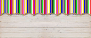 Colored pencils on wooden background. 3d illustration. School concept - Colored pencils on wooden background. 3d illustration Royalty Free Stock Photography