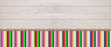 Colored pencils on wooden background. 3d illustration. School concept - Colored pencils on wooden background. 3d illustration Stock Photography