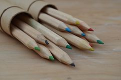 Colored Pencils, Wooden Pencils Royalty Free Stock Photo