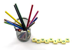 Colored pencils. And write letters education Royalty Free Stock Photo