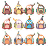 Colored penguins in retro style, set,  Royalty Free Stock Photo