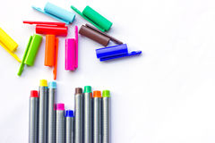 Colored pens. Colored pens on a white background stock image