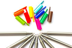 Colored pens. Colored pens on white background stock photography