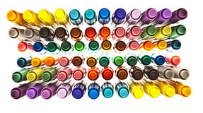 Colored Pens. Colored felt tip Pens over white stock image