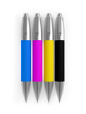 Colored Pens CMYK Cyan Magenta Yellow Black  on white Royalty Free Stock Photography