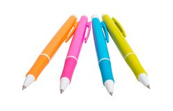 Colored pens isolated. On white background stock image