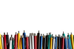 Colored pens line. On a white background royalty free stock photography