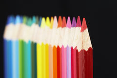 Colored pens in a row Stock Photos