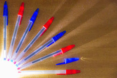 Colored pens. Some colored pens illuminate by a Off-field light royalty free stock image