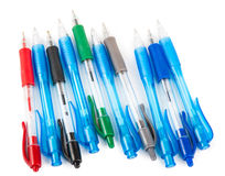 Colored pens. On white background stock photos