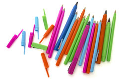 Colored pens on a white Royalty Free Stock Image