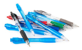 Colored pens on white background. Of plastic stock images