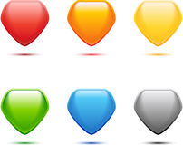 Colored Pentagon Set. For web design Stock Images