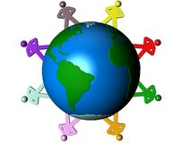 Colored people around Earth Royalty Free Stock Image