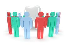 Colored people around tooth. 3D render. Royalty Free Stock Image