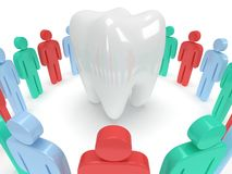 Colored people around tooth. 3D render. Royalty Free Stock Photo