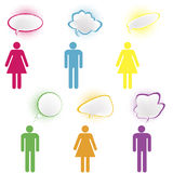 Colored  people with chat bubbles. Colored stylized people with chat bubbles Stock Image