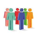 Colored people figures. A group of 3d people figures standing in a circle Stock Photos