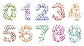 Colored people numbers 0 to 9 Royalty Free Stock Images