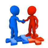Colored people on puzzles shaking hands. 3d rendered illustration Stock Photo