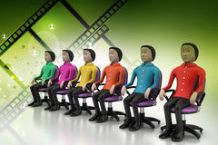 Colored people sitting on the chair Stock Image