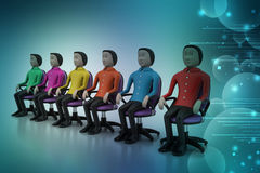 Colored people sitting on the chair Stock Photo