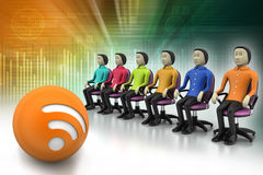 Colored people sitting on the chair Royalty Free Stock Photography