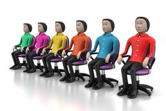 Colored people sitting on the chair Stock Photos