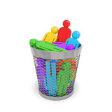 Colored people wastebasket. Society business social community policy concept. Colored people in the trash bin as symbol of dismissal, redundancy, optimization Stock Photo