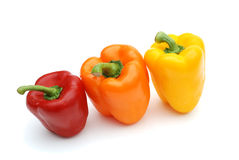 Colored Pepper. Colored bell pepper isolated on white background Royalty Free Stock Photo