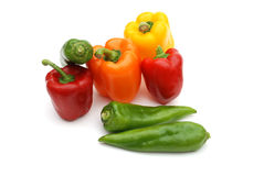 Colored Pepper. Colored bell pepper isolated on white background Stock Image