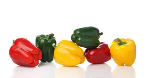 Colored pepper. Different colors of fresh paprika in a row Royalty Free Stock Images