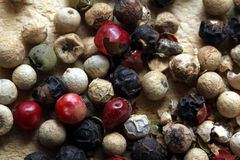 Colored peppercorns 2. A close up shot of some colored peppercorns royalty free stock photography