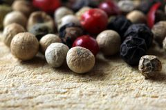 Colored peppercorns. A close up shot of some colored peppercorns stock photography