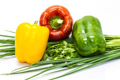 Colored peppers with Fresh vegetables Stock Photography