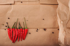 Colored Peppers Mix with red chili pepper. Royalty Free Stock Image