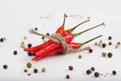 Colored Peppers Mix with red chili pepper. Pepper spices Stock Photos