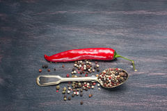 Colored peppers mix, red chilly peppers  on a wooden table. Royalty Free Stock Photo