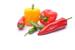 Colored peppers on white background. Fresh Royalty Free Stock Photography
