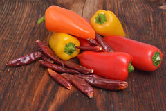 The Colored peppers on wooden background. Colored peppers on wooden background Stock Image