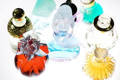 Colored perfume. Some colored bottle of perfume Royalty Free Stock Photo