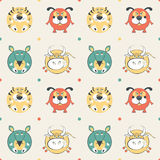 Colored pets pattern with cat, dog, mouse and cow Royalty Free Stock Photography