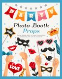 Photo Booth Party Props Poster. Colored photo booth party props poster with headline and human s hands vector illustration Royalty Free Stock Photo