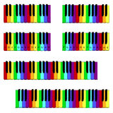 Colored piano keyboard set. With fingering Royalty Free Stock Photography