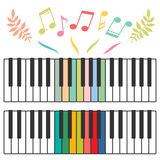 Colored piano keys and notes vector illustration Stock Image