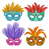 Colored pictures of carnival or theatre masks with feathers. Vector illustrations set in cartoon style. Carnival and masquerade costume mask, venetian mardi Stock Images