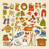 Colored pictures of christmas toys and specific objects of winter season. Winter christmas holiday, xmas tree and gift to new year. Vector illustration royalty free illustration
