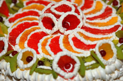 The colored pie decorated with fruit Royalty Free Stock Photo