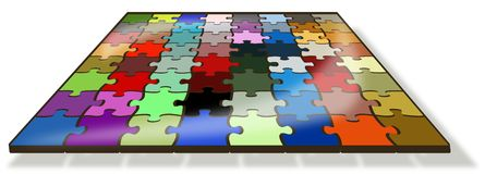Colored 64 pieces puzzle Stock Photography