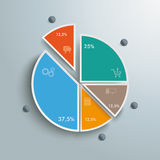 Colored Piechart 5 Pieces Stock Photography